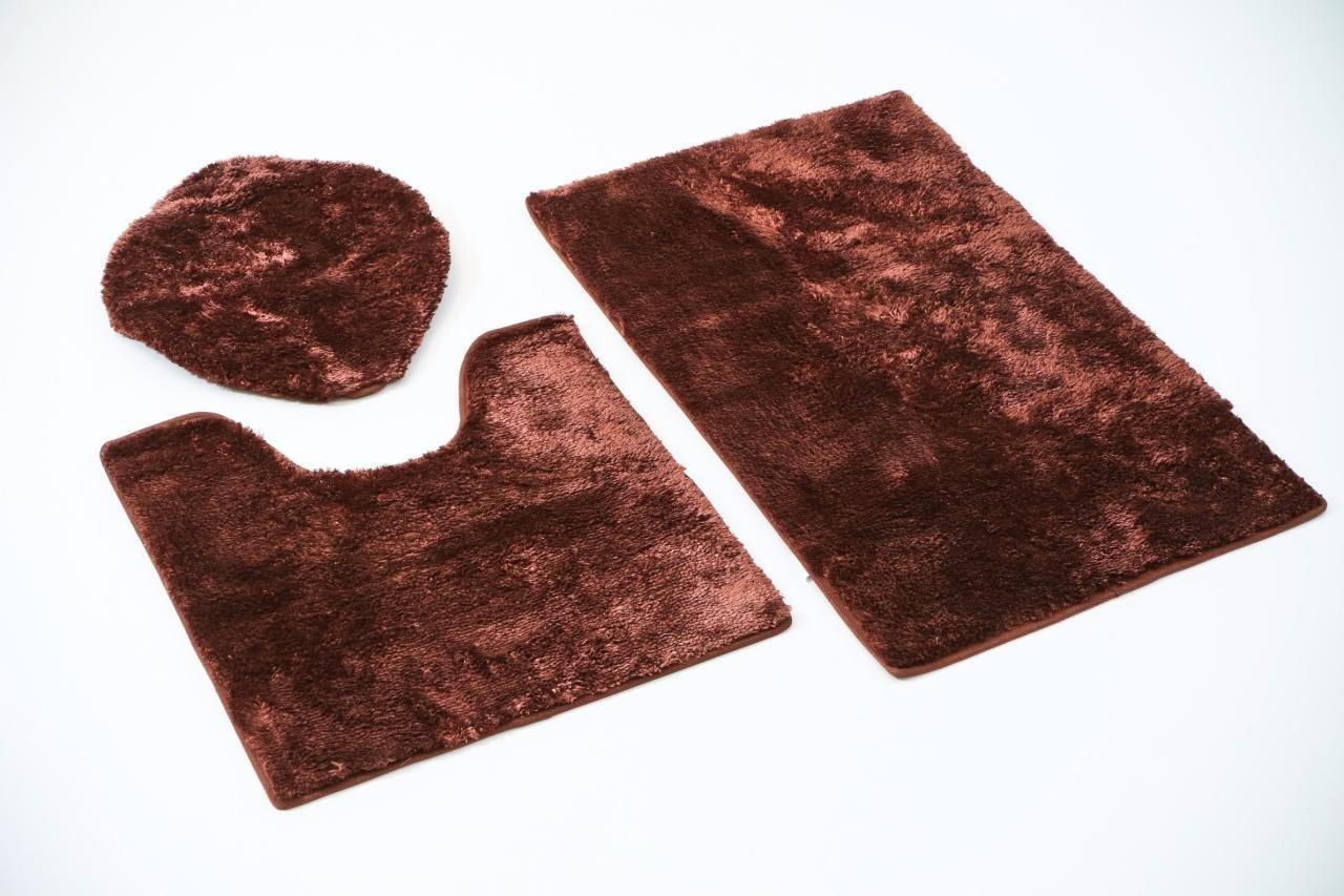 3 pcs set Chocolate bath room floor mat