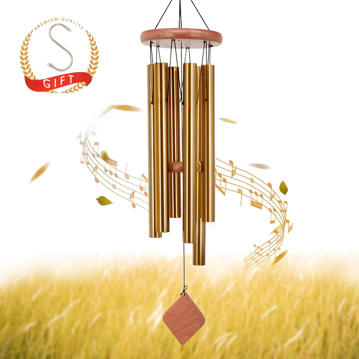 SuninYo Outdoor,30'' Amazing Grace Wind Chimes with S Hook, Golden