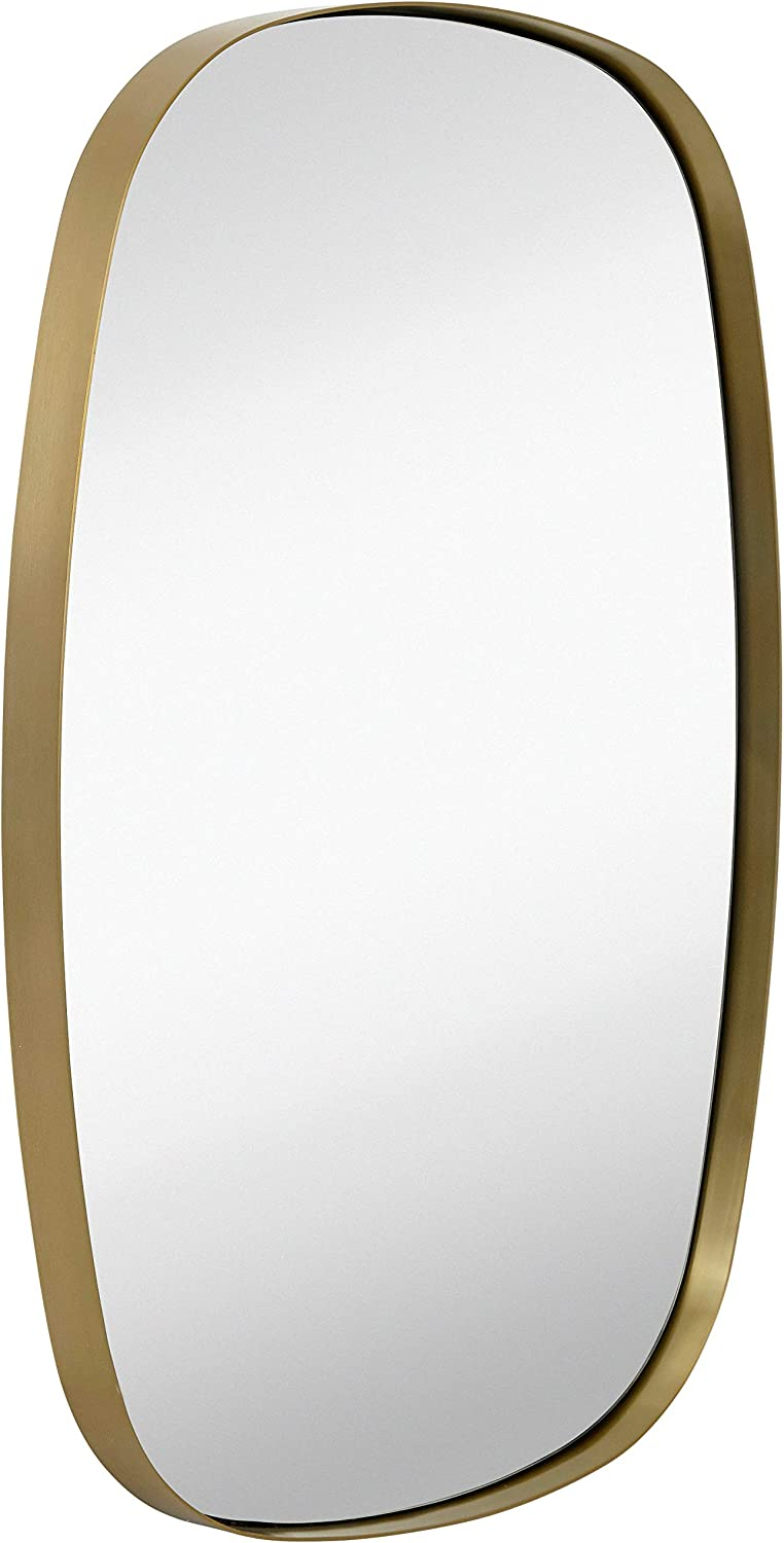 Hamilton Hills Contemporary Brushed Metal Oblong Wall Mirror | Glass Panel Gold Framed Rounded Corner Oval Deep Set Design | Mirrored Rectangle Hangs Horizontal or Vertical (24
