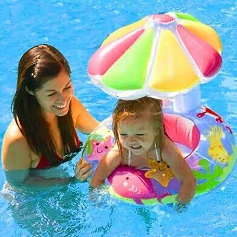 Goodid flotador de flor para bebe con asiento y techo