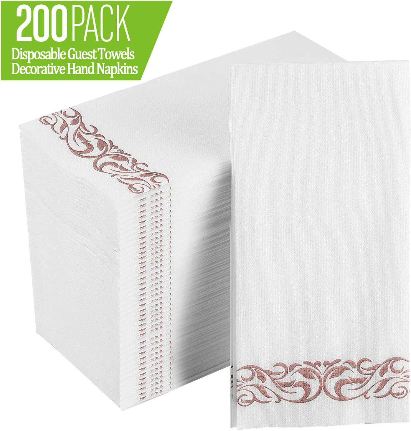 [200 Pack] Disposable Guest Towels Soft and Absorbent Linen-Feel Paper Hand Towels Durable Decorative Bathroom Hand Napkins for Kitchen,Parties,Weddings,Dinners or Events,White and Rose Gold