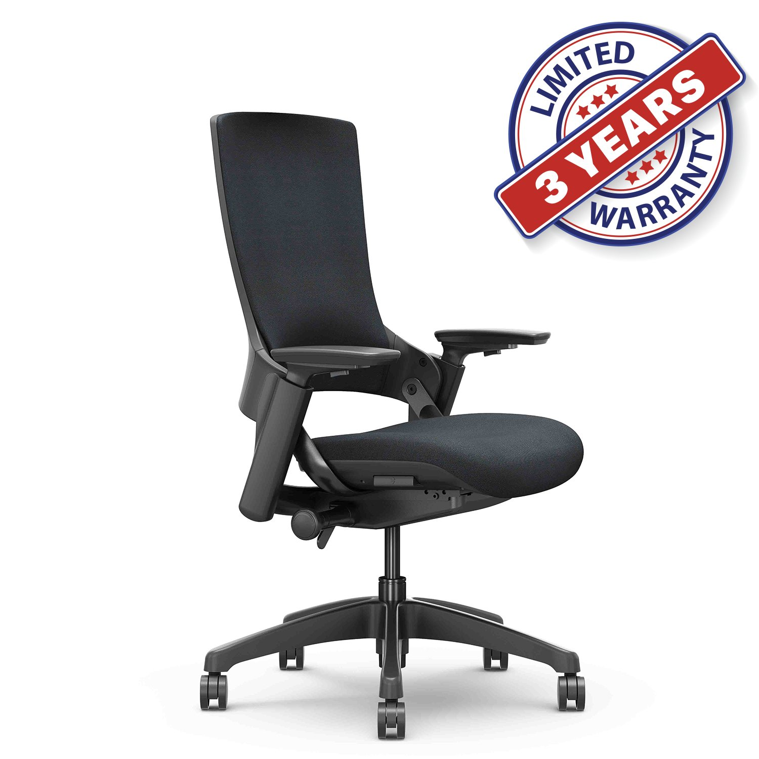 CLATINA Ergonomic High Swivel Executive Chair with Adjustable Height 3D Arm Rest Lumbar Support and Upholstered Back for Home Office (Black) New Version