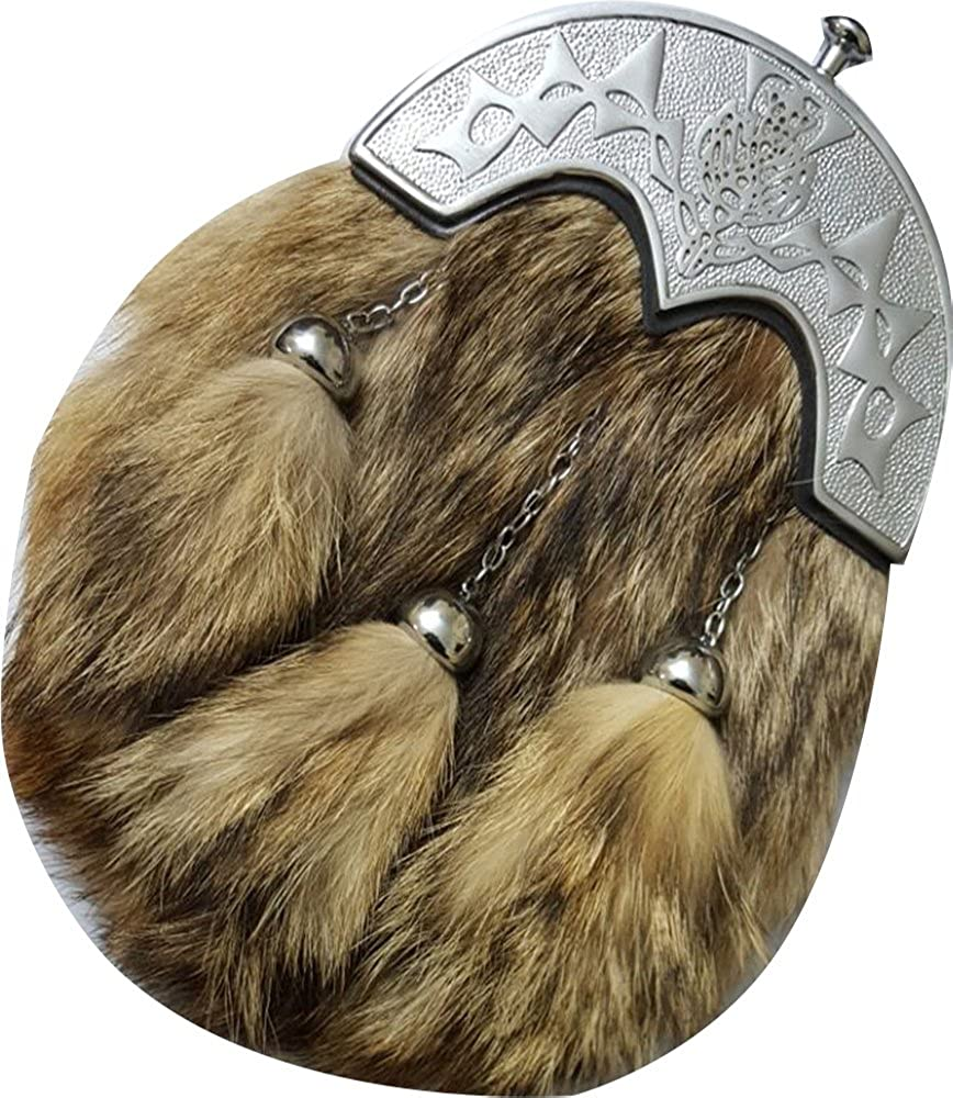 Mens Scottish Kilt Sporran Formal Fox Fur//Kilt Sporran Chain Belt Chrome Cantle F-004