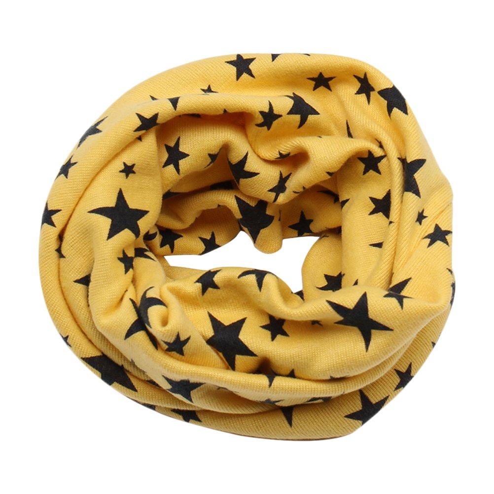 Zhhlinyuan Winter Warm Circle Scarf Unisex Kids Cute Star Cotton Scarves LZ136