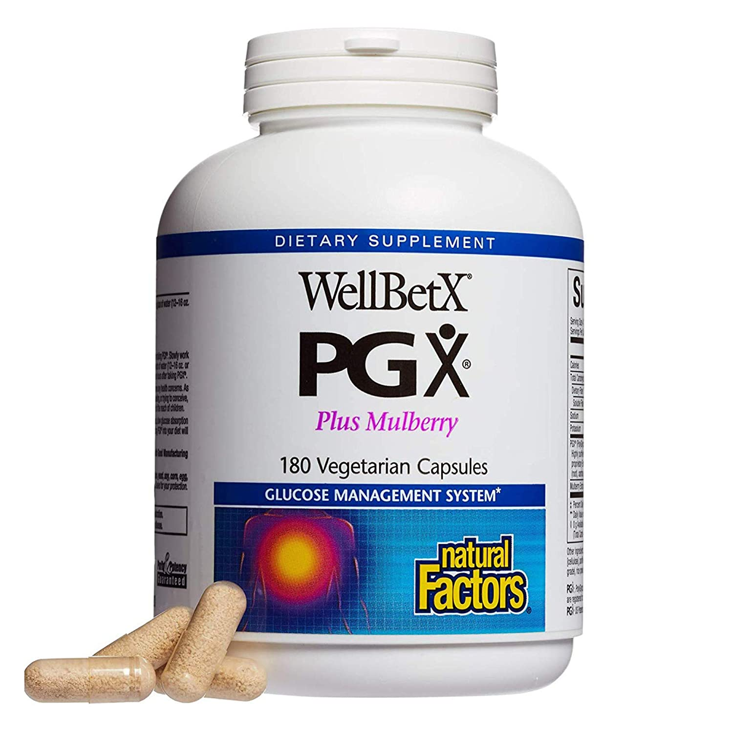 PGX by Natural Factors, WellBetX Plus Mulberry, 180 vegetarian capsules (45 servings)