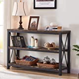 BON AUGURE Industrial Sofa Console Table, 3 Tier Horizontal Entry Tables with Open Shelf, Rustic Entryway/Hallway Table for L