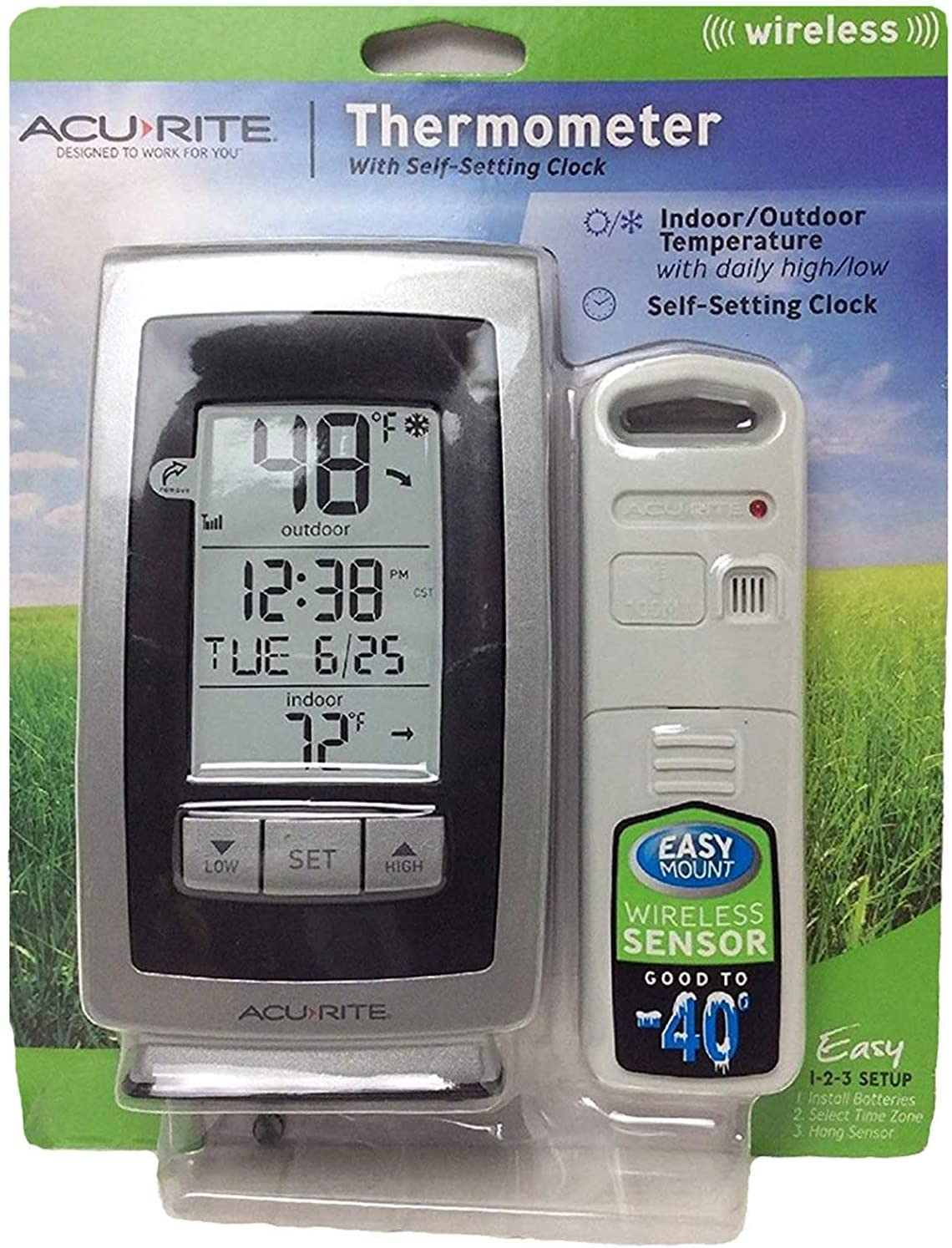 Amazon Com Acurite Digital Indoor Outdoor Wireless Thermometer 00754w4 With Self Setting Clock And Daily High Low Garden Outdoor