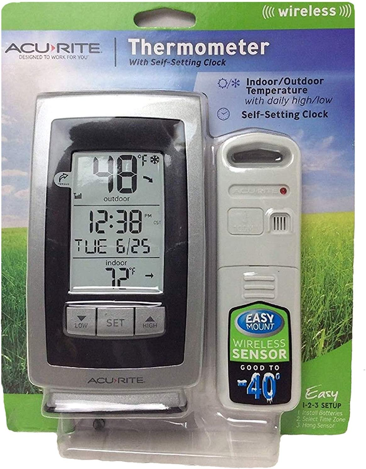 2 PACK NEW ACU-RITE WIRELESS INDOOR OUTDOOR THERMOMETER WITH SELF SETTING CLOCK