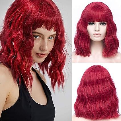 TANTAKO® Peluca Rojo Corto Cosplay Sintético - Short Red Wigs for Short Wavy Burgundy Bob Wigs Synthetic Cosplay Wig Halloween Costume Women Wig