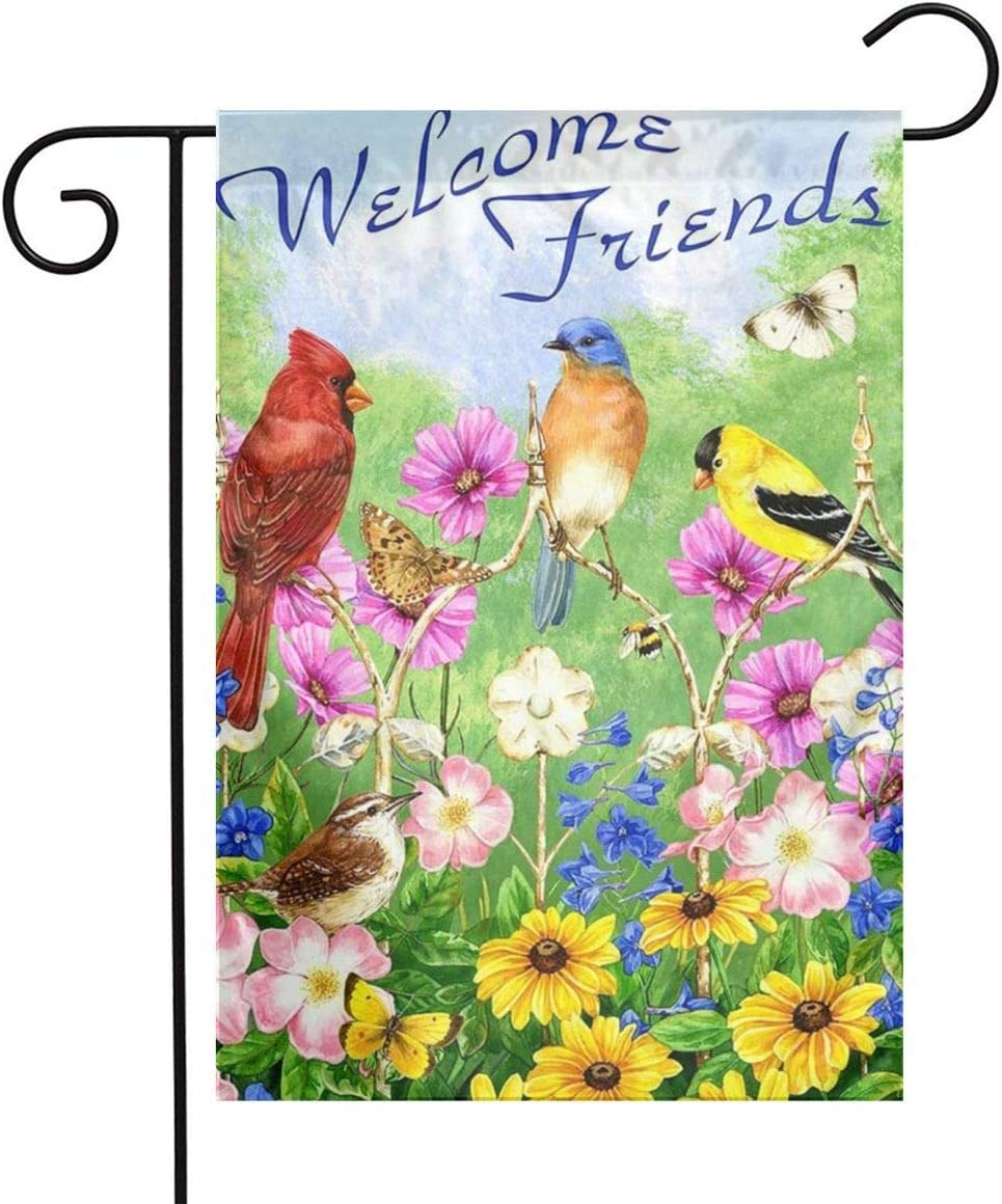 Woodpecker Spring Bird Garden Flag Outdoor Logo 12 x 18 Welcome Summer Outdoor House Logo Banner Home Hummingbird Decoration Bird