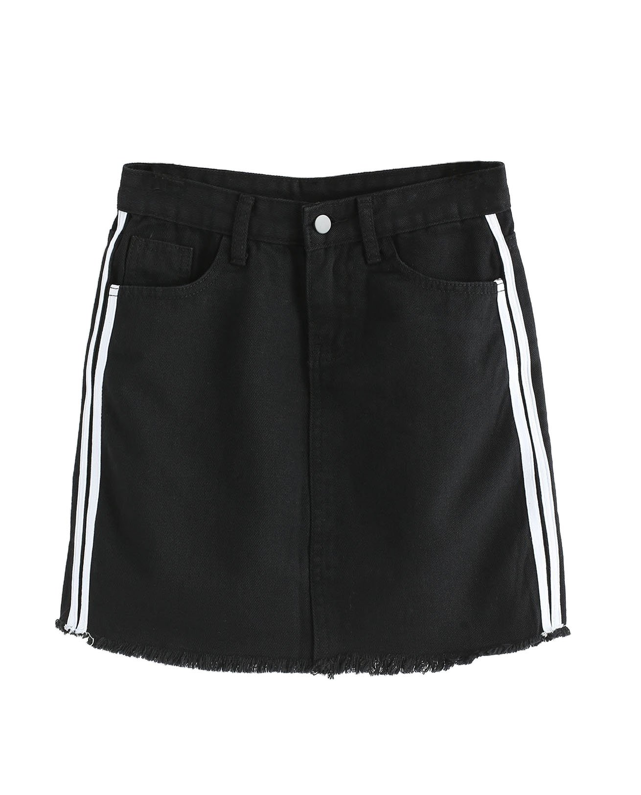 Verdusa Women's Casual Distressed Fray Hem A-Line Denim Short Skirt Black-Striped L