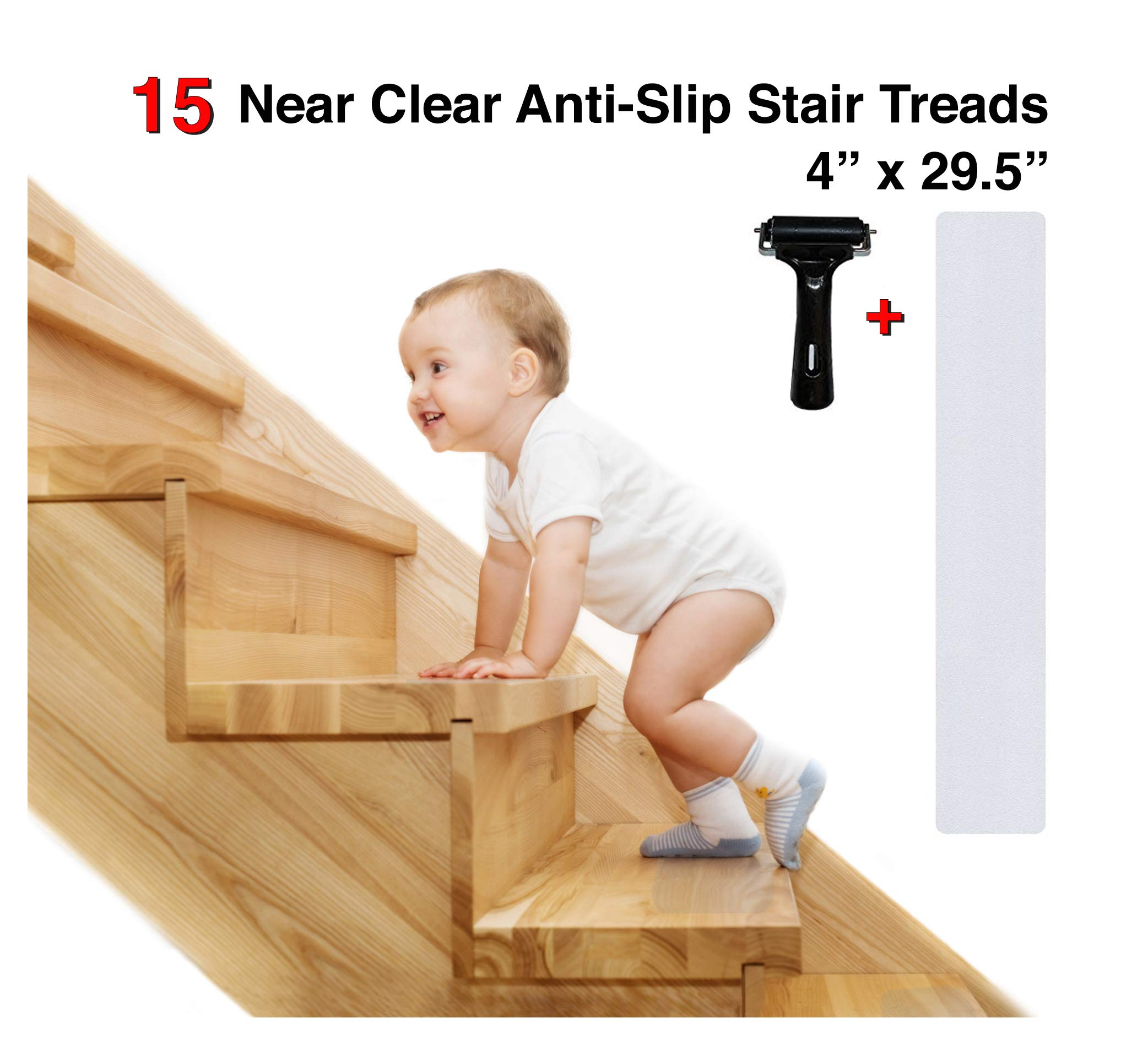 Anti Slip Stair Treads Tape - Pre Cut, 4'' x 29.5 inches | Invisible Non Slip Traction Grip Tape for Wooden Stairs and Hardwood | (Pack of 15) Floor Protection Stickers - Roller Included