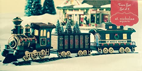 Village Collection St  Nicholas Square Train Set Illuminated Christmas  Village Accessory