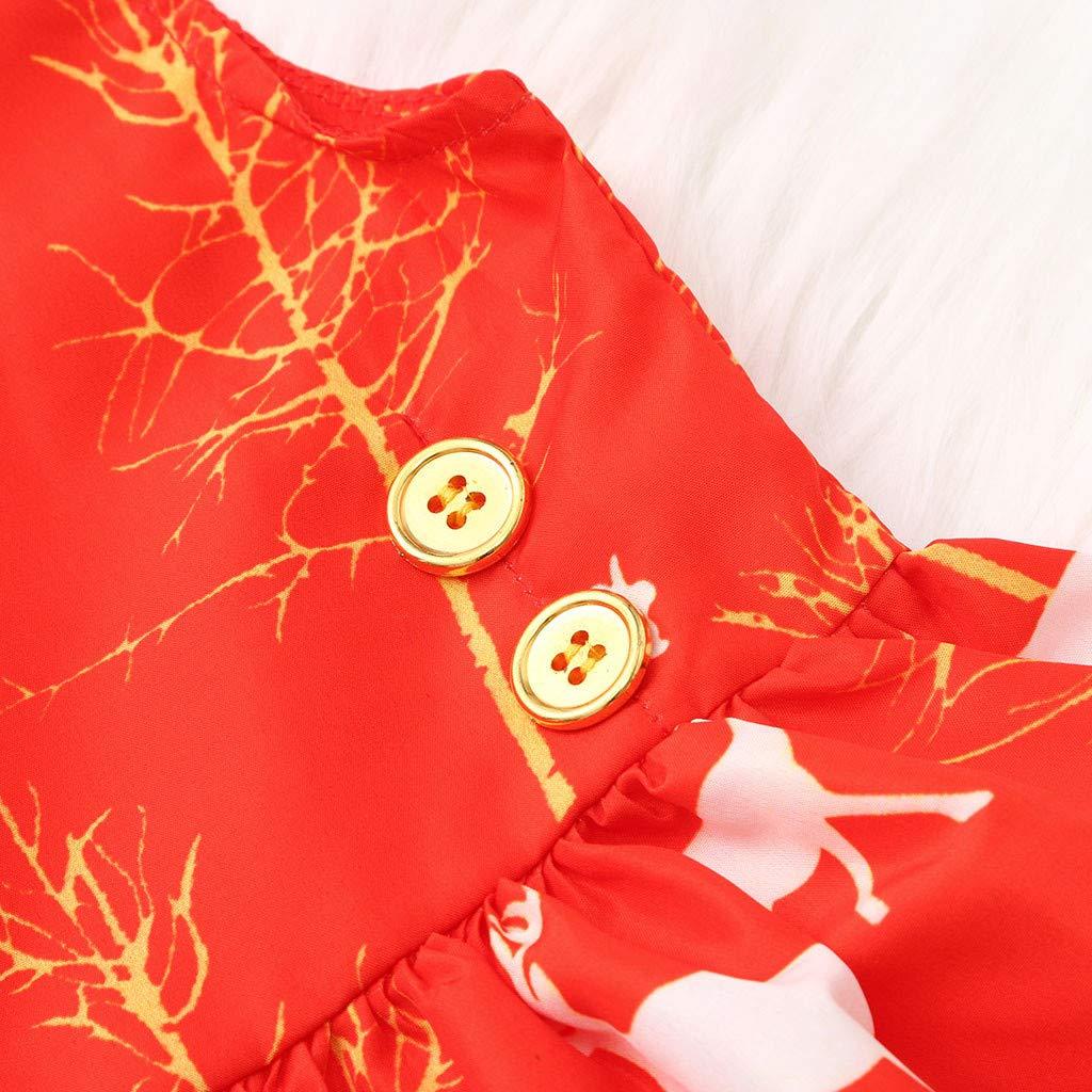 Jchen Little Girl Christmas Dress Kids Girls Sleeveless Xmas Cartoon Deer Princess Tutu Dress Outfits for 0-4 Y TM