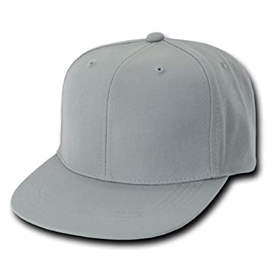 5d85ce9cca8 Decky Plain Solid Fitted Flat Bill Baseball Cap Grey (7 Sizes ...