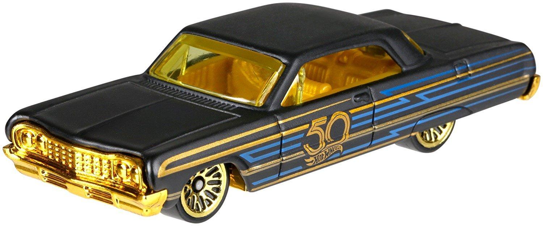 1964 Chevy Impala 5//6 HW Hotwheels 50th Anniversary Negro y Oro FRN38