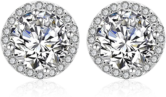 925 Sterling Silver Womens Cubic Zirconia CZ Round Fashion Stud Earrings