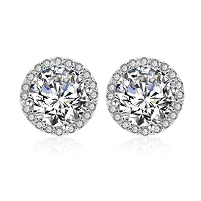 dff4e6342 Silver Cubic Zirconia Stud Earrings - 925 Sterling Silver Swarovski Crystal  Round Diamond Rhinestone CZ Halo