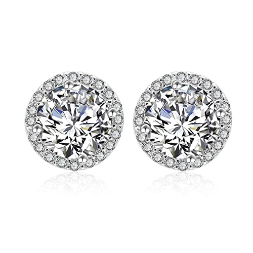44bf130ba AMYJANE 925 Sterling Silver 14K White Gold Plated Swarovski Crystal Cubic  Zirconia Halo Stud Earrings for Women: AMY JANE: Amazon.ca: Jewelry