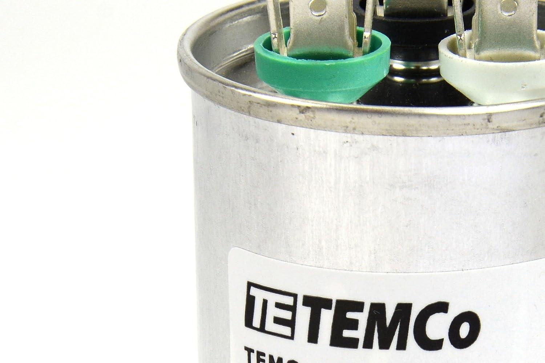 TEMCo 10 LOT Dual Run Capacitor RC0116-45//5 mfd 370 V 440 V VAC Volt 45+5 uf AC Electric Motor HVAC