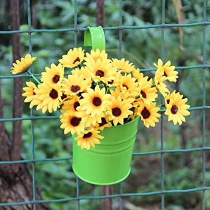 Amazon afco metal iron wall hanging flower pot garden fence afco metal iron wall hanging flower pot garden fence balcony plants holder bucket vintage planter container mightylinksfo