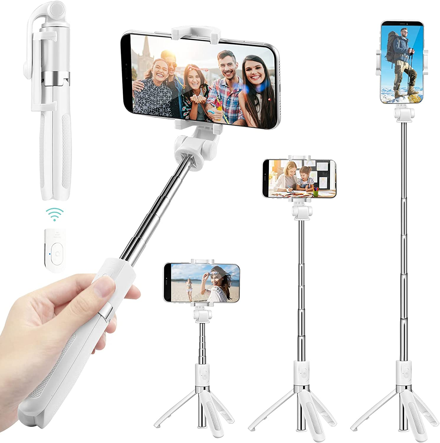 Selfie Stick Tripod for iPhone, Cell Phone Tripod Stand with Bluetooth Wireless Remote, 3 in 1 Portable Extendable Lightweight Tripod Compatible withiPhone/Samsung/Huawei and More (White)