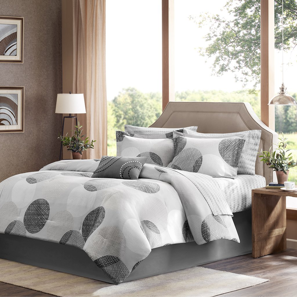 Madison Park Essentials Knowles Full Size Bed Comforter Set Bed in A Bag - Grey, Geometric Dots – 9 Pieces Bedding Sets – Ultra Soft Microfiber with Cotton Sheets Bedroom Comforters