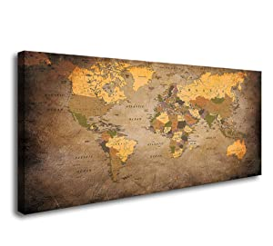 Baisuwallart- 1 Piece Vintage World Map Canvas Wall Art- Ready to Hang - Home Office Decor Picture Prints for Living Room Bedroom Abstract Painting Artwork 20x40inches x1pcs