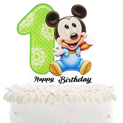 Fantastic Mickey Mouse 1St Birthaday Cake Topper Celebrate Baby Shower Funny Birthday Cards Online Elaedamsfinfo