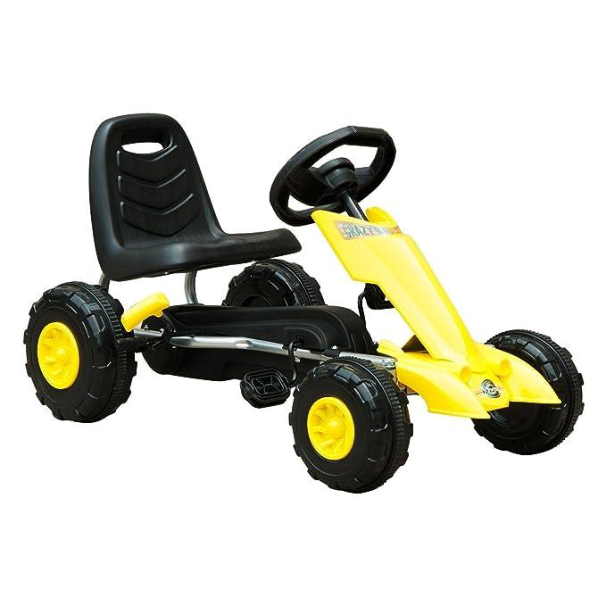 HOMCOM Go Kart Coche de Pedales Deportivo de Acero con Frenos para Niños de 3-5 Años 88x51x48cm Color Negro y Amarillo: Amazon.es: Juguetes y juegos