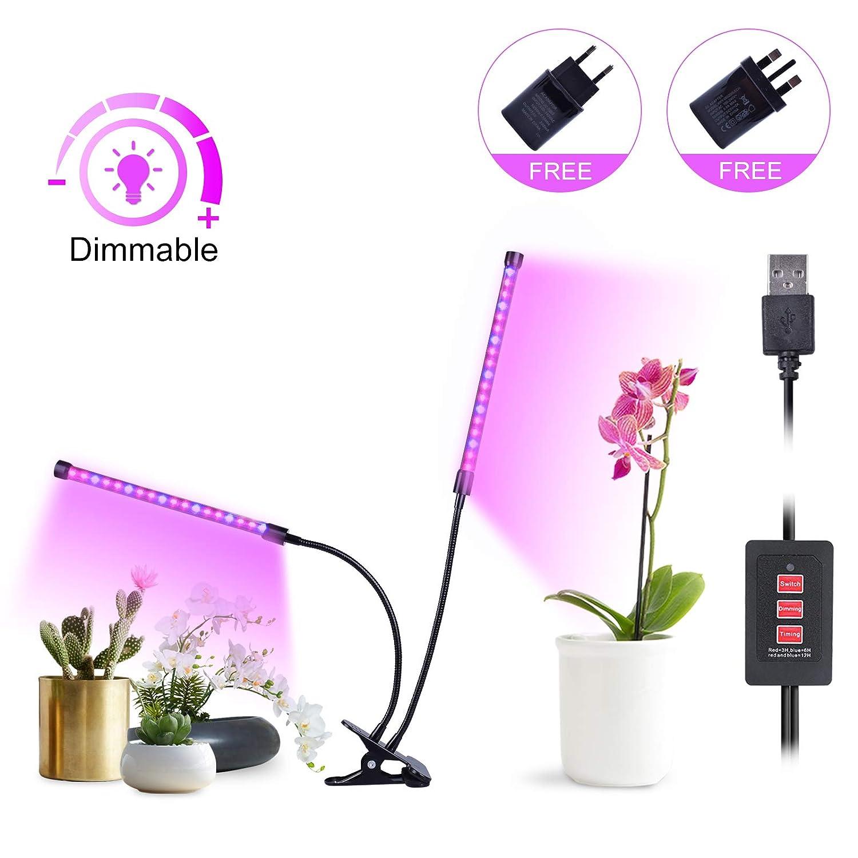LED Pflanzenlampe USB, MIXC 18W Pflanzenlicht Doppelkopf Wachstumslampe mit Timing-Funktion, Rot und Blau Vollspektrum& Dimmbar 5 Lichtstärken, Ideal für Zimmerpflanzen Blumen und Gemüse
