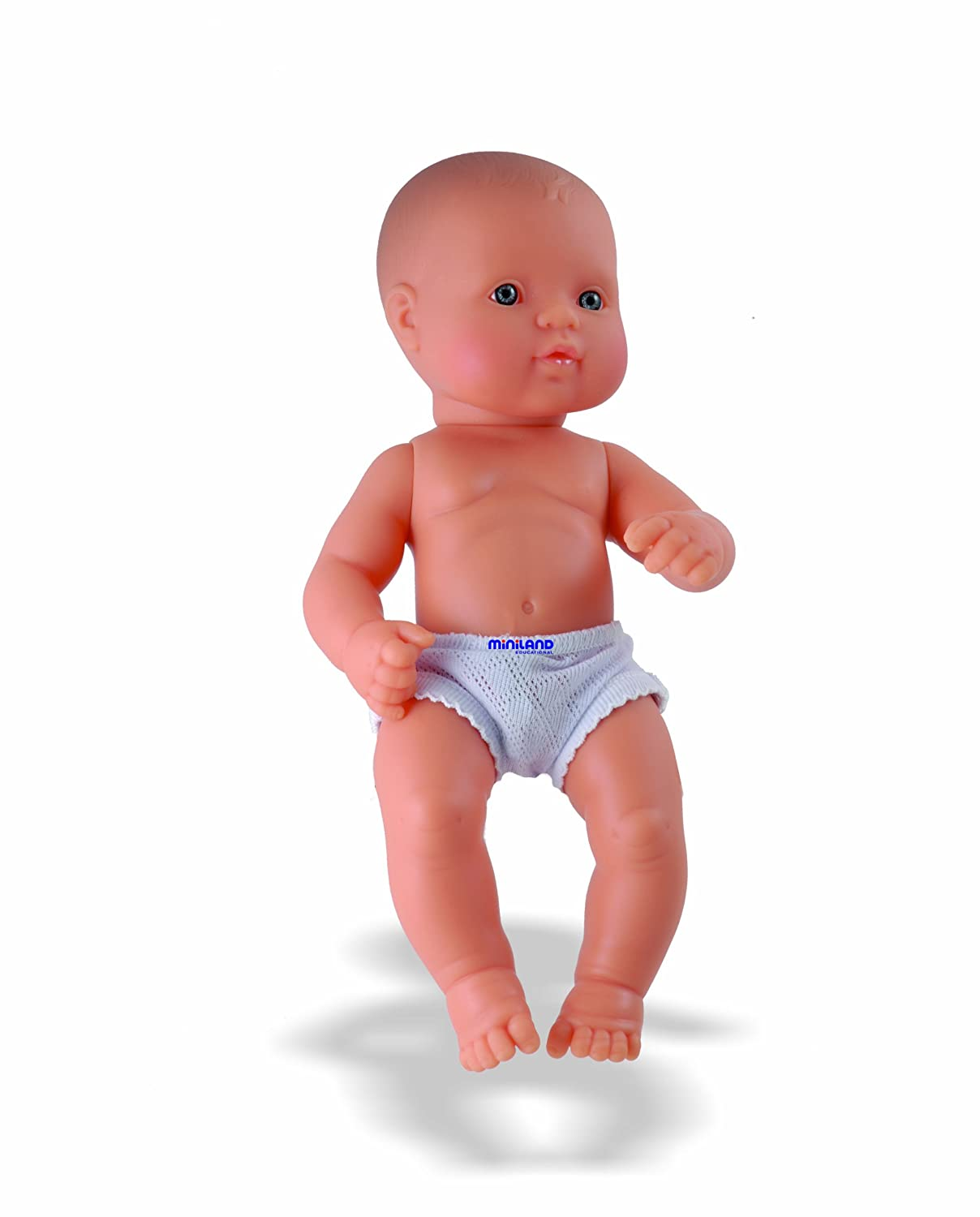 Miniland 12.63'' Anatomically Correct Newborn Baby Doll, Caucasian Boy