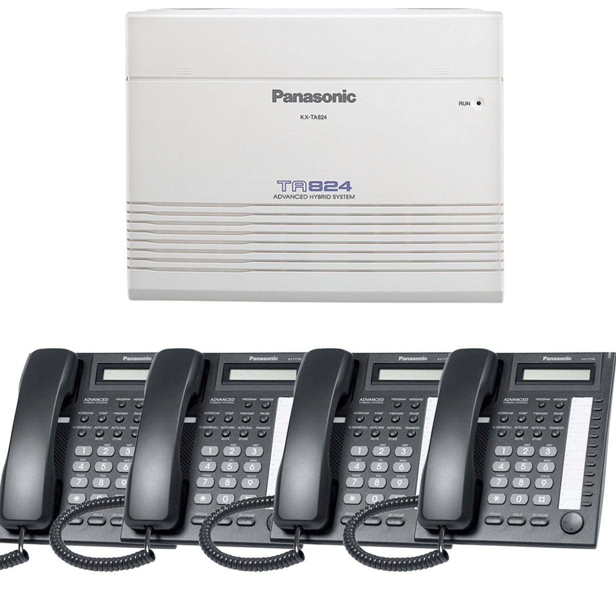 Panasonic Small Office Business Phone System Bundle Brand New includiing KX-T7730 4 Phones Black and KX-TA824 PBX Advanced Phone System With 1 Year Warranty Sold by Phone Source Direct USA by Panasonic