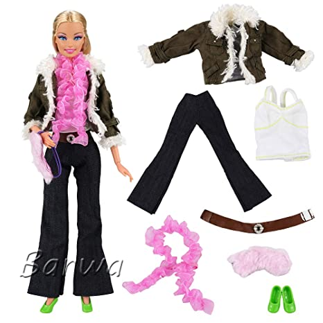 dab94c20aff Miunana 1 Ropa Vestir Casual con Camiseta Abrigo Pantalones Bolso Bufanda para  Muñeca Barbie Doll Regalo