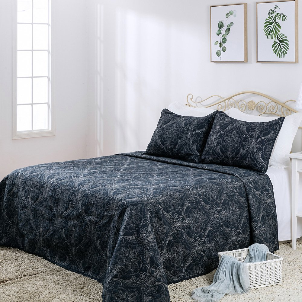 Elegant Life Machine Washable Cotton Reversible Damascus Solid Embroidery Quilt Bedspread, Queen Size(90''x95''), Navy