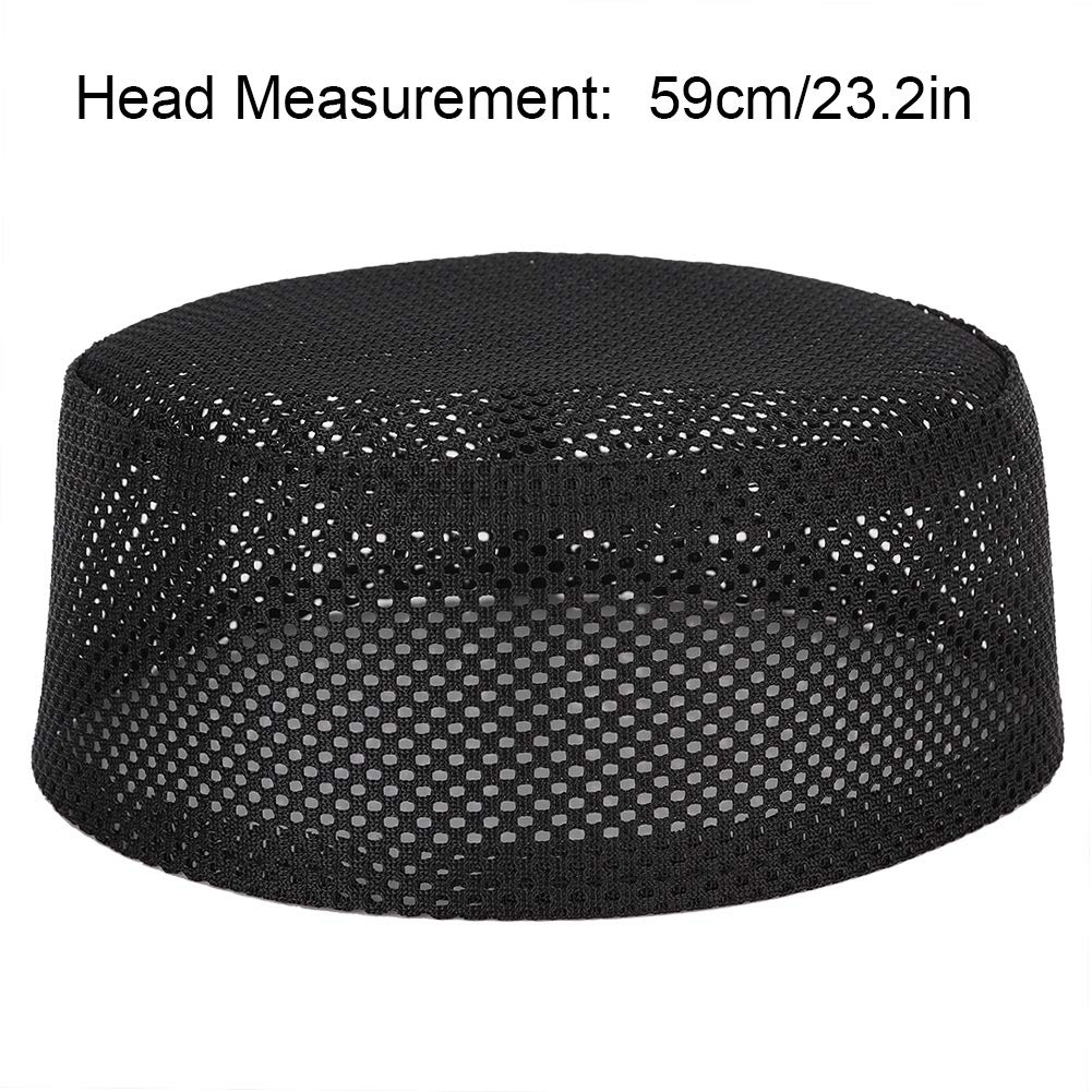 Mens Muslim Prayer Kufi Hat Polyester Mixed Cotton Cloth Islam Man Embroidery Hat Male Head Cap