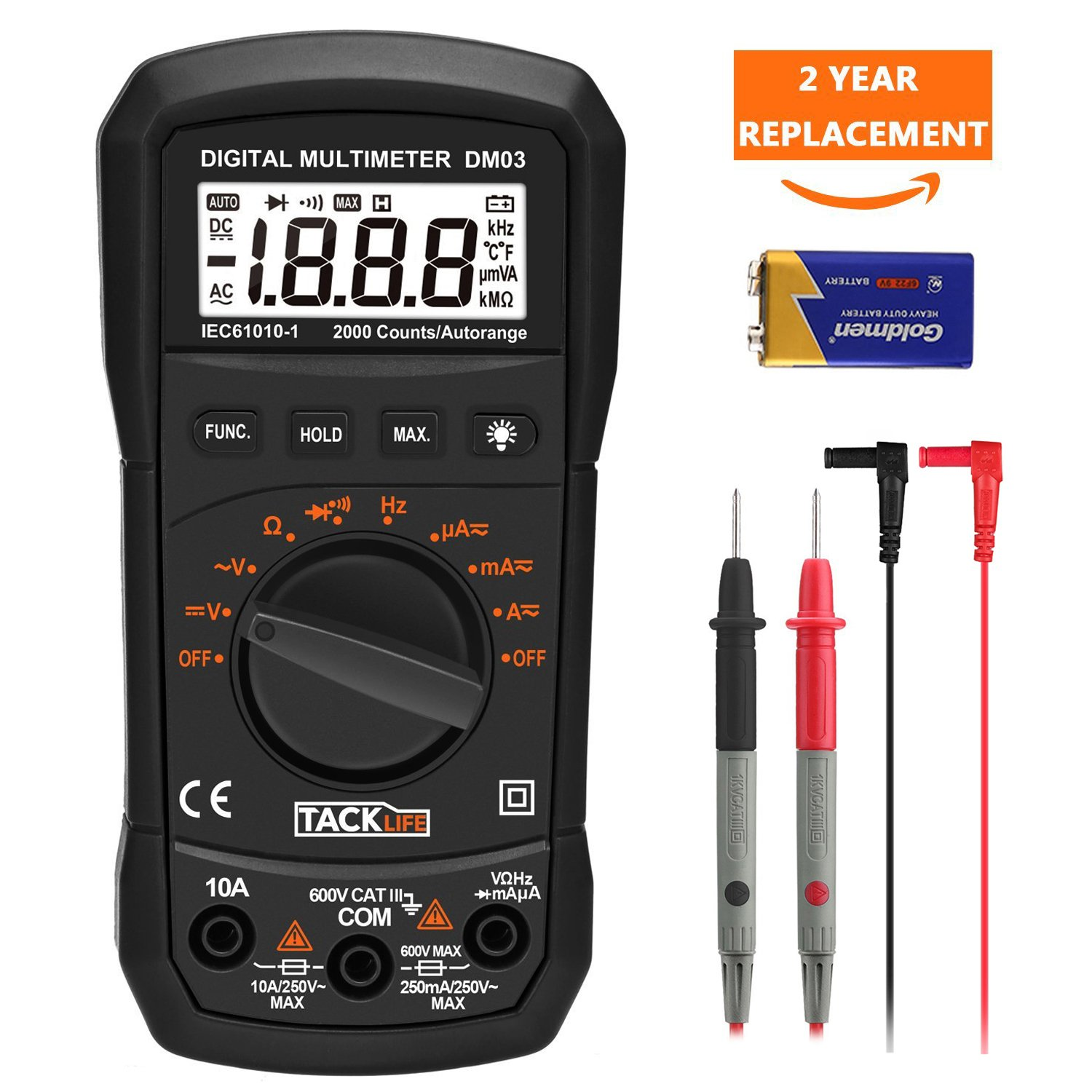 Multimeter,TACKLIFE DM03 Auto Ranging Multi Tester, Measures AC & DC Voltage and Current, Resistance, Continuity, Frequency, Diode Electronic Tester, Digital Multimeter with Backlit LCD