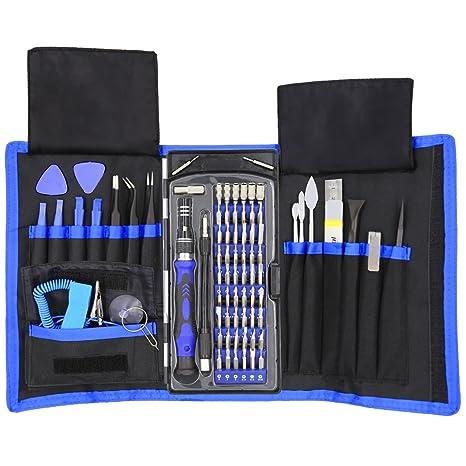 Juego de destornilladores de precisión, 80 en 1, magnéticos, con 42 puntas, kit de herramientas de reparación de electrónica profesional con bolsa, ...