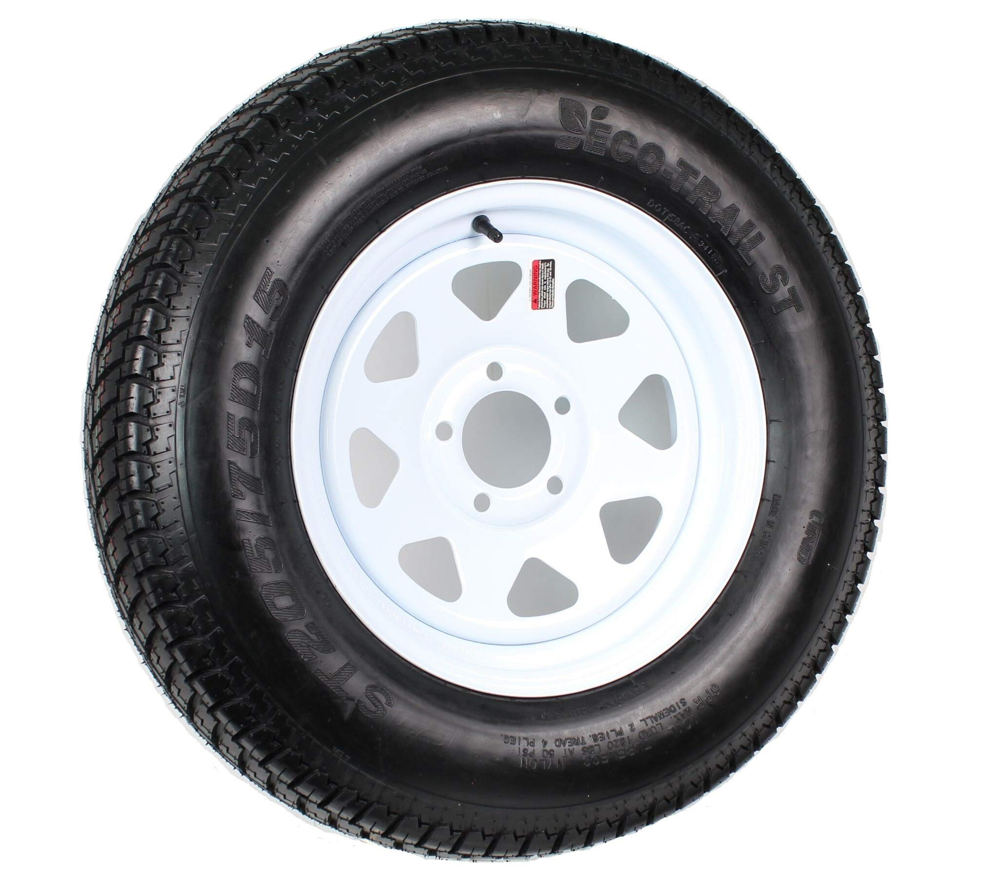 15'' White Spoke Trailer Wheel with Bias ST205/75D15 Tire Mounted (5x4.5) bolt circle
