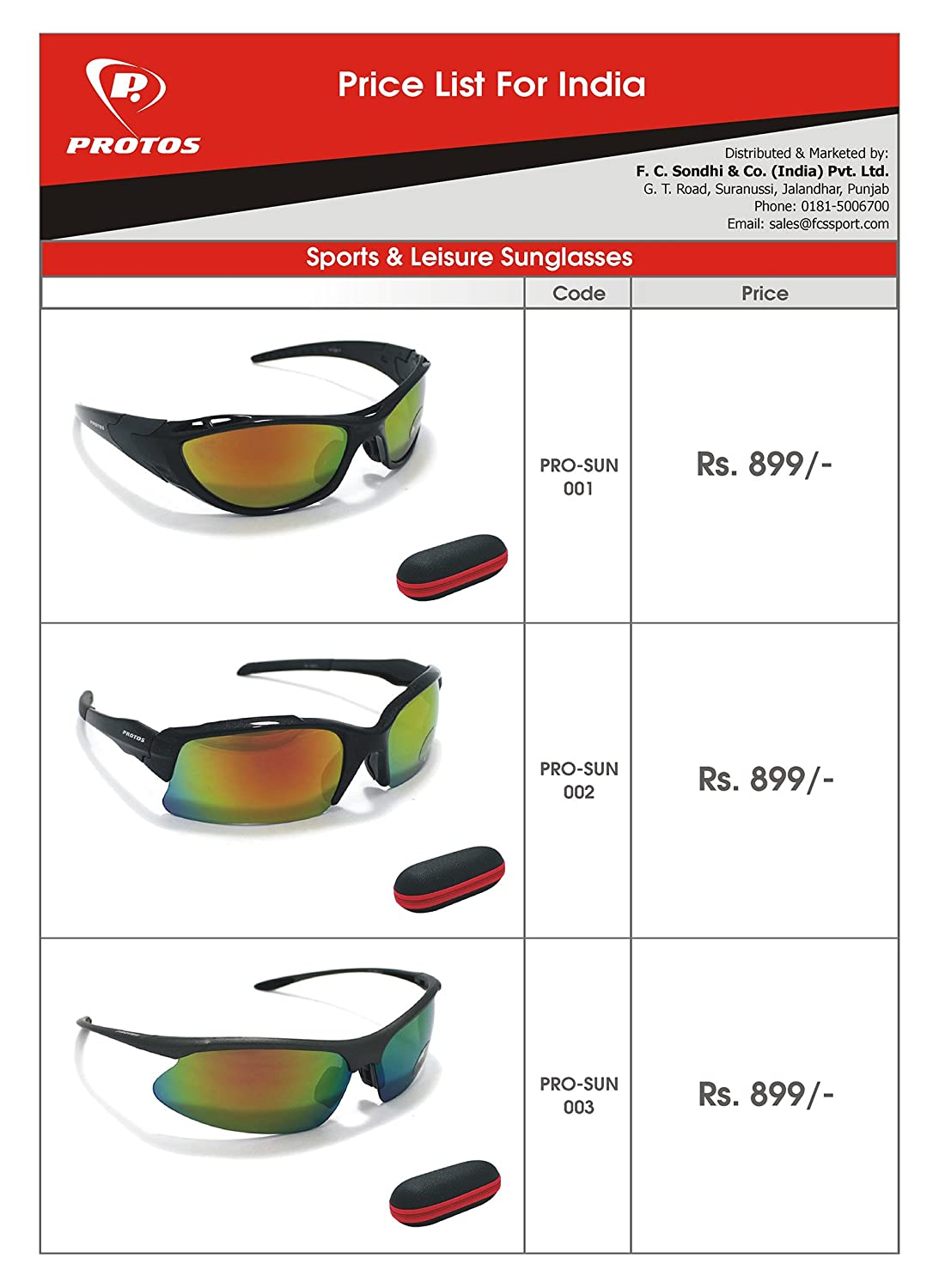 d6c6400174 Protos Sports   Leisure Sunglasses  Amazon.in  Clothing   Accessories
