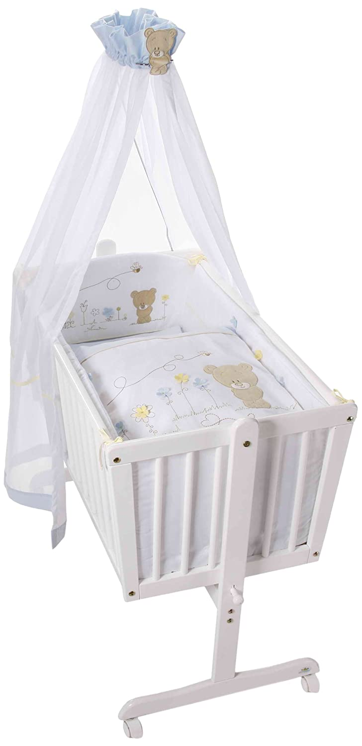 Easy Baby Komplettwiege Wei/ß Honey Bear Blue