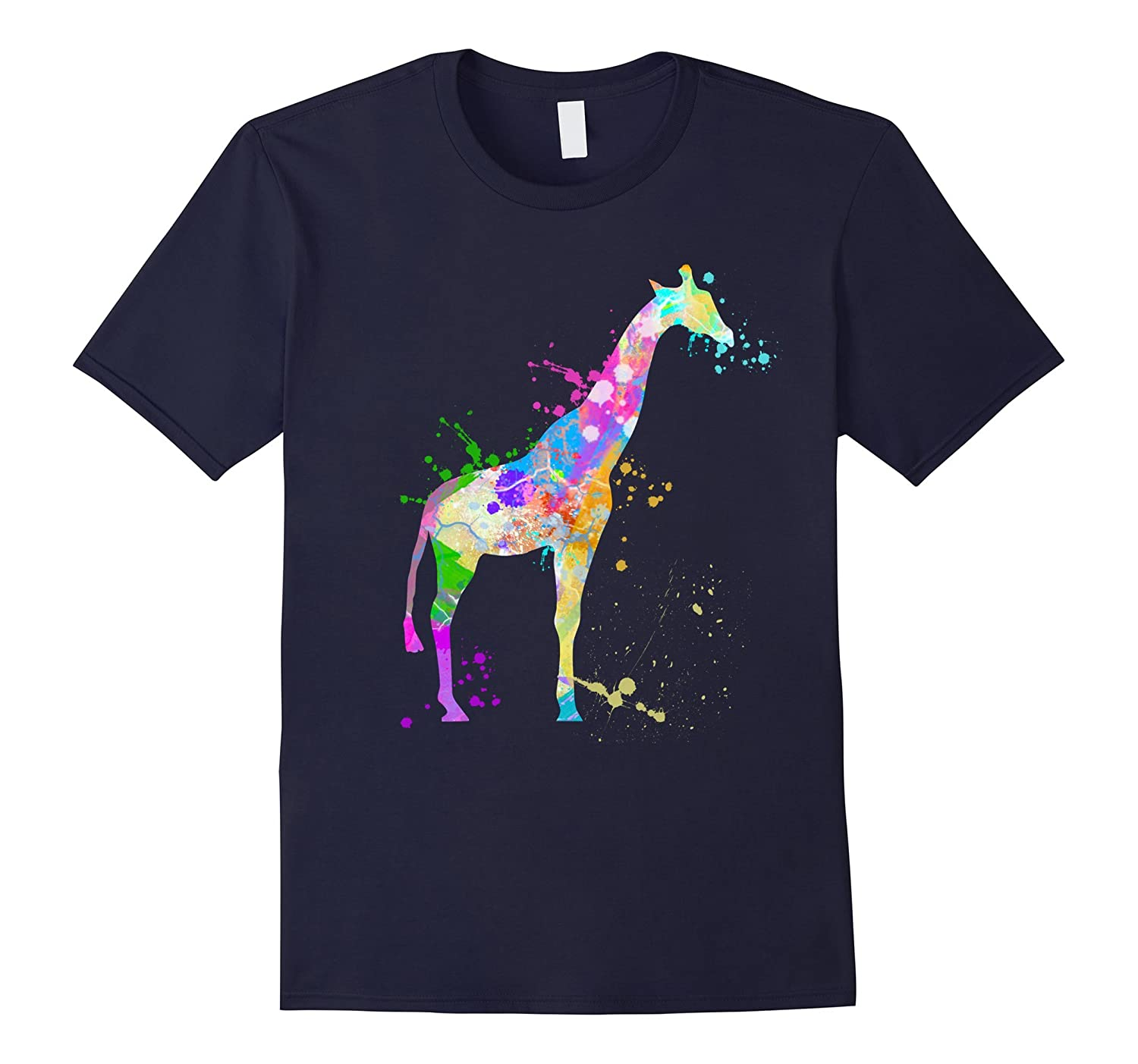 Giraffe TShirt Watercolor Love Giraffe Paint Tee Shirt-TD