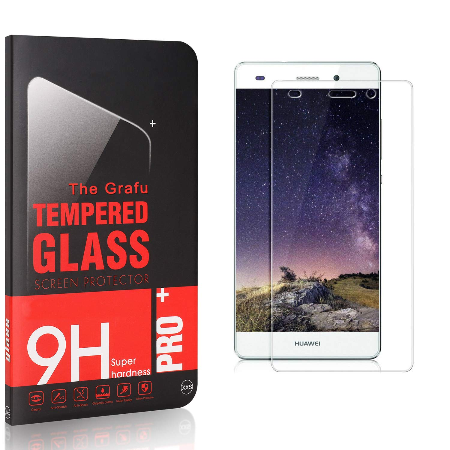 The Grafu Screen Protector for Huawei P8 3 Pack Ultra Clear 9H Tempered Glass Screen Protector Compatible with Huawei P8 Easy Installation