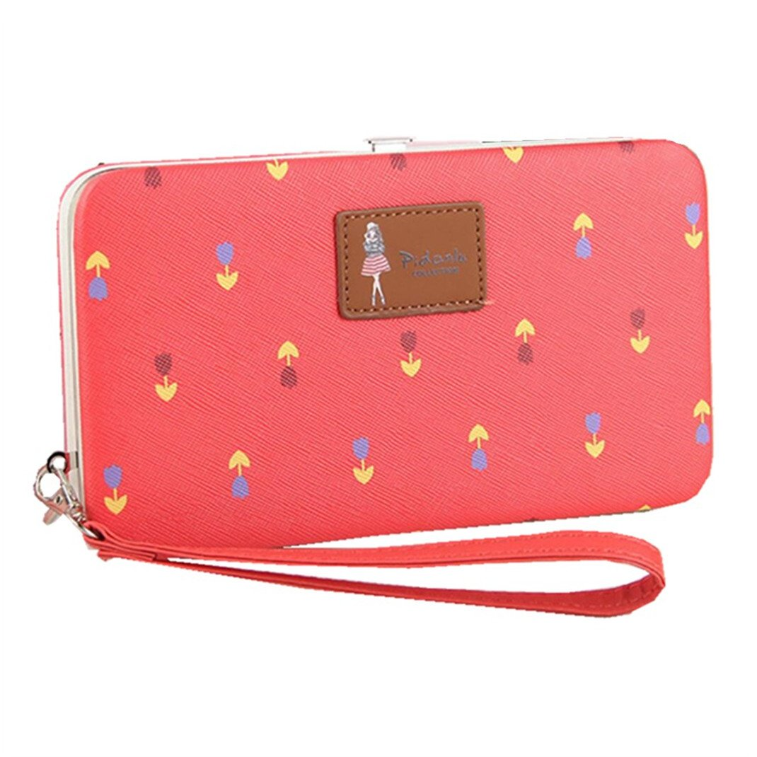 Leather Phone Clutch Wallet for Ladies Large Wristlet Hard Case Long Purse for iPhone X / 8/8 Plus / 7/7 Plus Flowers Pattern