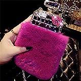 Fusicase Luxury Perfume Bottle Design Bling Rex Rabbit Fur Bling Diamond Hair Sleeve Plush Back Case Cover for iPhone 6…