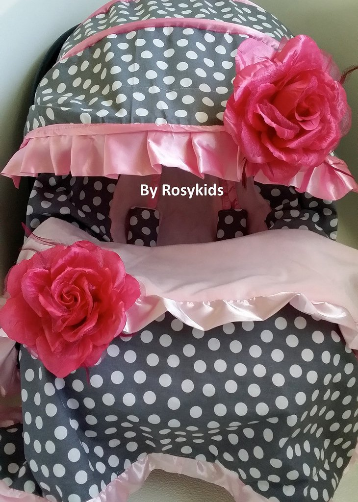 Infant Baby Car Seat Cover Canopy Cover Set Fit Most Infant Car Seat pink dots