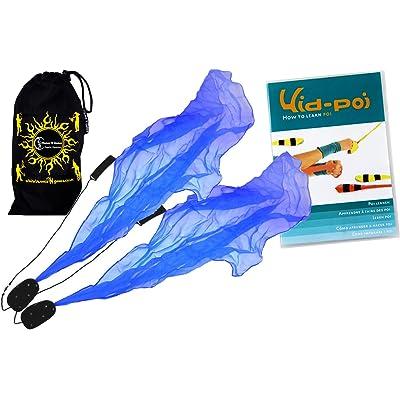 Flames N Games ANGEL POI Set (Blue) Practice Poi AKA Scarf Spiral Poi + KID Poi DVD + Travel Bag: Toys & Games