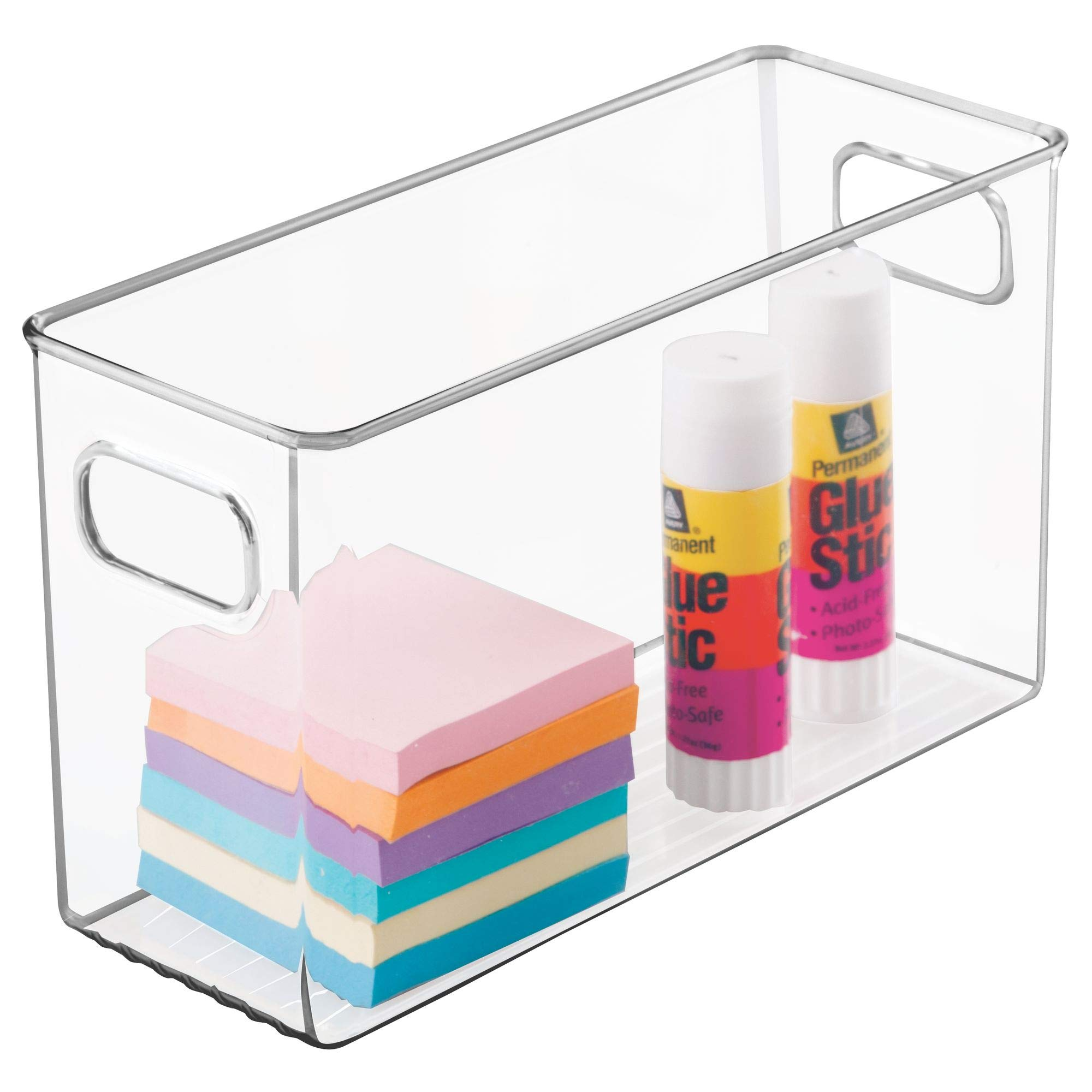 mDesign Office Supplies Desk Organizer Bin for Pens, Pencils, Markers, Highlighters, Tape - Pack of 4, 10'' x 4'' x 6'', Clear by mDesign (Image #6)
