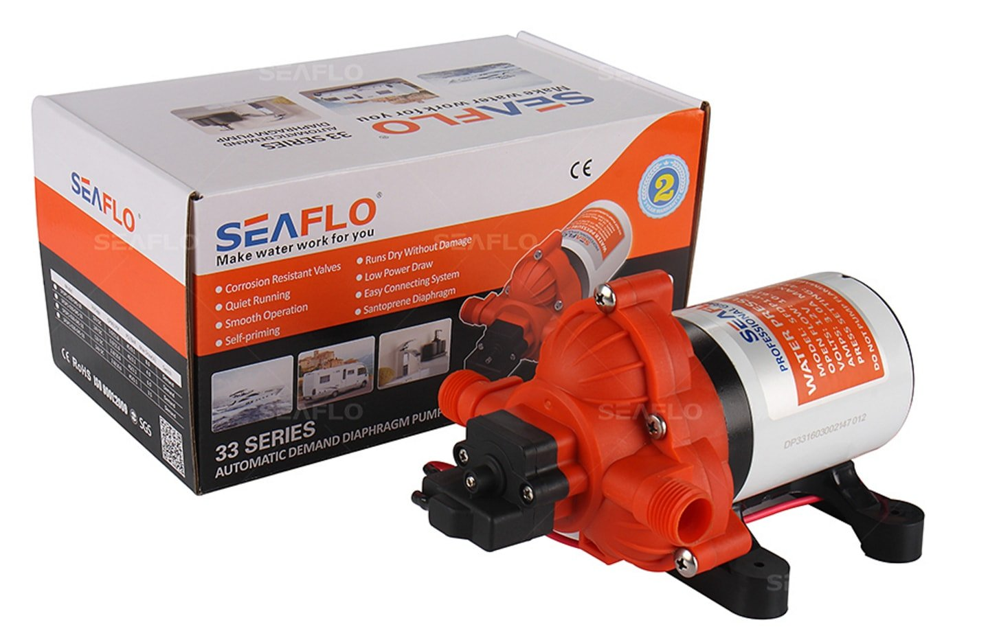 SEAFLO 33-Series Industrial Water Pressure Pump w/Power Plug for Wall Outlet - 115VAC, 3.3 GPM, 45 PSI by Seaflo (Image #4)