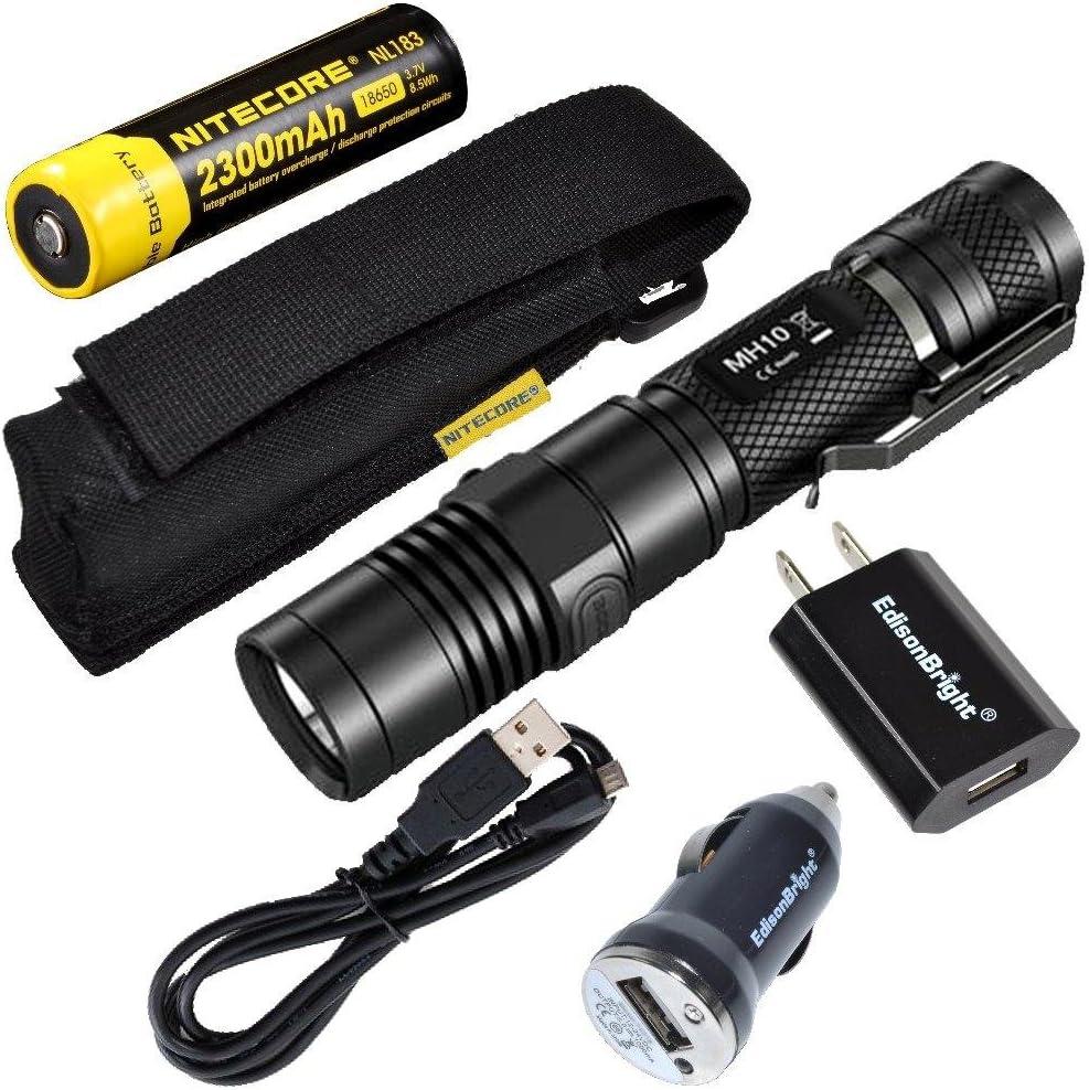 EdisonBright Nitecore MH10 CREE XM-L2 U2 LED 1000 Lumen USB Rechargeable Flashlight, 18650 Rechargeable Li-ion Battery, USB Charging Cable, Holster AC/CAR USB Power adapters Bundle